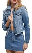 Bardot Trashed Lace-Up Denim Jacket