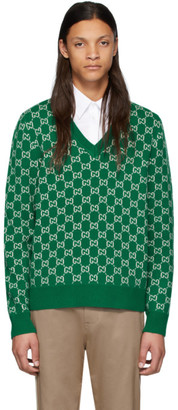 Gucci Green and Off-White Wool GG V-Neck Sweater