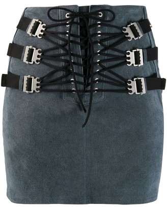 Unravel Project Lace-Up Mini Skirt