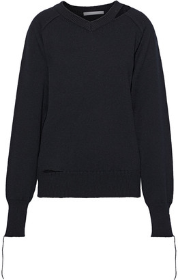 Helmut Lang Cutout Cotton, Wool And Cashmere-blend Sweater