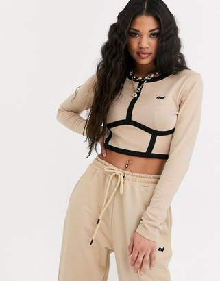 Criminal Damage long sleeve crop top with contrast panels co-ord-Beige