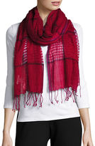 Eileen Fisher Linen, Wool and Cashmere Windowpane Scarf