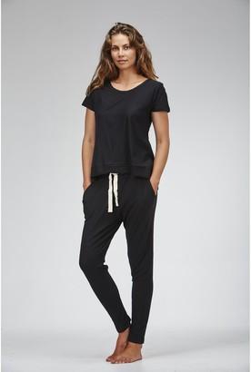 Cloth & Co. - Women's Black Pants - Organic Cotton Slub Lounge Pants - Size One Size, S at The Iconic
