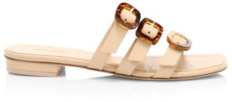 Cult Gaia Tallulah Tri-Strap Leather Slides