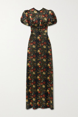 The Vampire's Wife The Confessional Floral-print Silk-satin Maxi Dress - Black