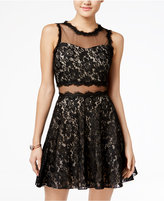 Speechless Juniors' Illusion Lace & Sequin Fit & Flare Dress