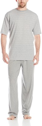 Hanes Men's Striped Crew T-Shirt and Knit Pant Sleep Set