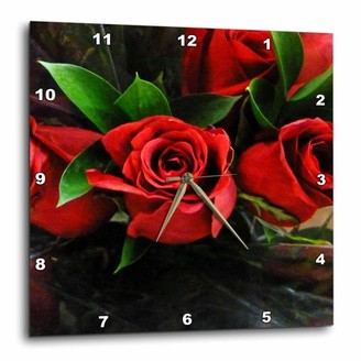 3drose 3dRose Red Roses On Black, Wall Clock, 13 by 13-inch