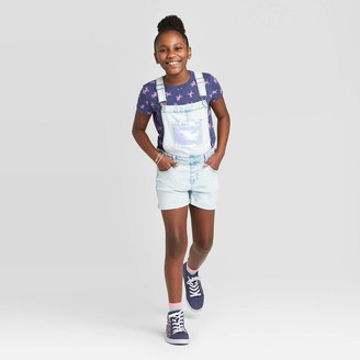 Cat & Jack Girls' Flip Sequin Pocket Jean Shortalls - Cat & JackTM