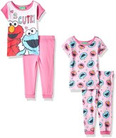 "Sesame Street Baby Girls' ""2 Cute"" 4-Piece Pajama Set"