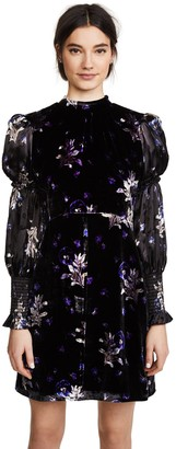 Rebecca Taylor Women's Long Sleeve Violet Velvet Dress
