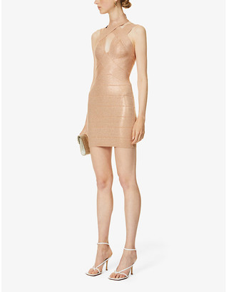 Herve Leger Metallic bandage stretch-knit mini dress