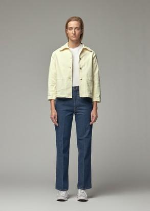 Jeanerica Women's Workwear Denim Jacket in Yellow White Size Large