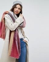 Asos Color Block Fluffy Knit Long Scarf