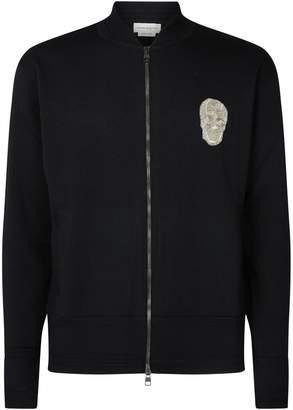 Alexander McQueen Zip-Up Embellished Knit Hoodie