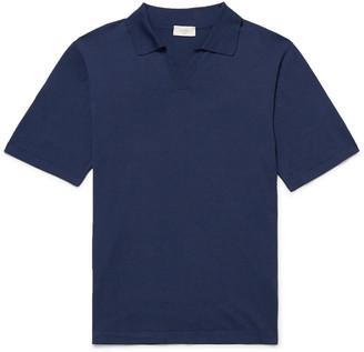 Altea Slim-fit Silk And Cotton-blend Polo Shirt - Blue