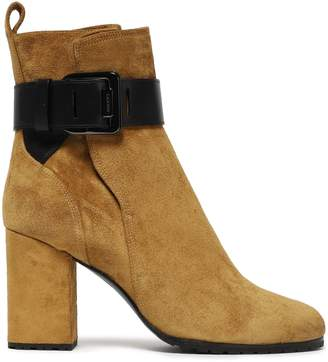 Lanvin Leather-trimmed Buckle-detailed Suede Ankle Boots