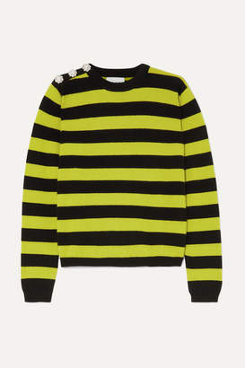 Ganni Button-embellished Striped Cashmere Sweater - Green