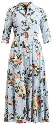 Erdem Kasia Isabelle-print Cotton Poplin Dress - Womens - Blue Print
