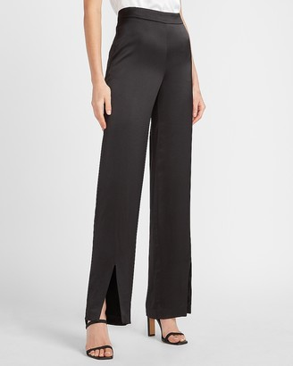 Express High Waisted Satin Slit Front Straight Pant