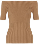 Jason Wu Off-the-shoulder Ribbed Stretch Wool-blend Top - Tan