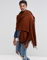 Asos Woven Blanket Scarf In Tobacco