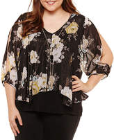 BY AND BY by&by 3/4 Sleeve V Neck Chiffon Blouse-Juniors