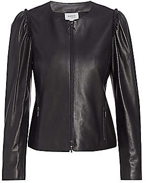 Akris Punto Women's Perforated Mini Ruffle Leather Jacket
