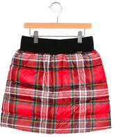 Junior Gaultier Girls' Puffer Plaid Skirt w/ Tags