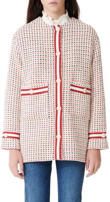 Maje Gerona Cotton Blend Tweed Coat
