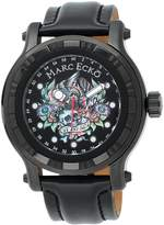 Ecko Unlimited The Flyaway Black Leather Skull Dial Men's Watch #E16580G1
