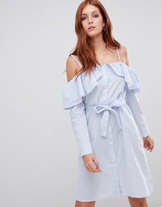 Vero Moda off the shoulder shirt dress-Blue