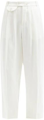 Zanini Linen-herringbone Trousers - Ivory