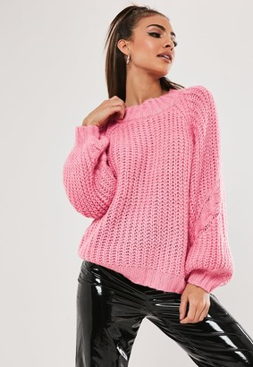 Missguided Pink Raglan Cable Knit Sleeve Jumper