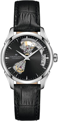 Hamilton Jazzmaster Open Heart Leather Strap Watch, 36mm