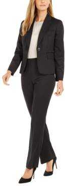 Le Suit One-Button Pinstriped Pantsuit