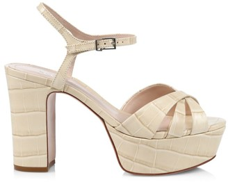 Schutz Keefa Croc-Embossed Leather Platform Sandals