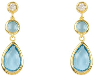 Latelita Tuscany Gemstone Drop Earring Gold Blue Topaz