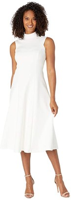 Calvin Klein High Neck A-Line Dress (Cream) Women's Dress