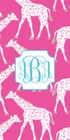 The Well Appointed House Personalized Beach Towel with Galloping Giraffes Pattern