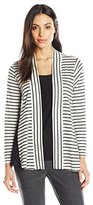 Notations Women's Long Sleever Cozy Cardigan with Solid Inset and Side Panels