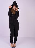Missy Empire Raven Black Lace Up Cat Jumpsuit