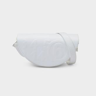 MM6 MAISON MARGIELA Shoulder Bag Demi-Lune In White Eco Leather