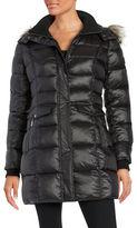Bernardo Wellon Faux Fur-Trimmed Hooded Glossy Nylon Puffer Coat