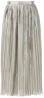 Saloni Camille High-rise Lurex-plisse Midi Skirt - Silver
