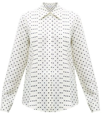 Gabriela Hearst Mirtha Polka-dot Pintuck-pleat Silk Shirt - Navy White