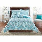 Mainstays Teen Modern Geometric Watercolor Chevron Reversible Soft Aqua Palette Bedding Twin/Twin XL Comforter for Girls (6 Piece in a Bag)