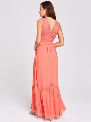 Little Mistress Lace Top Chiffon Maxi Dress - Pink