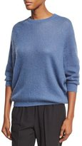 Brunello Cucinelli Ribbed Knit Crewneck Sweater, Blue
