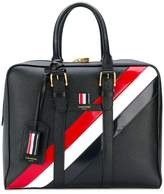 Thom Browne Small Holdall With Red, White And Blue Diagonal Stripe In Pebble Grain & Calf Leather